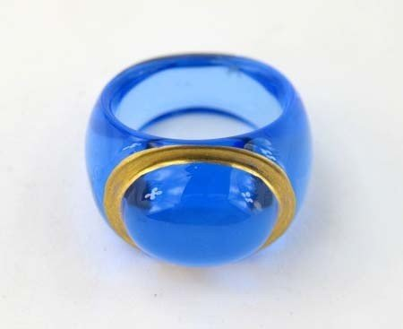 1B: Baccarat Blue Clear Crystal Ring