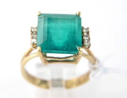 3B: 14K Yellow Gold Emerald and Diamond Ring