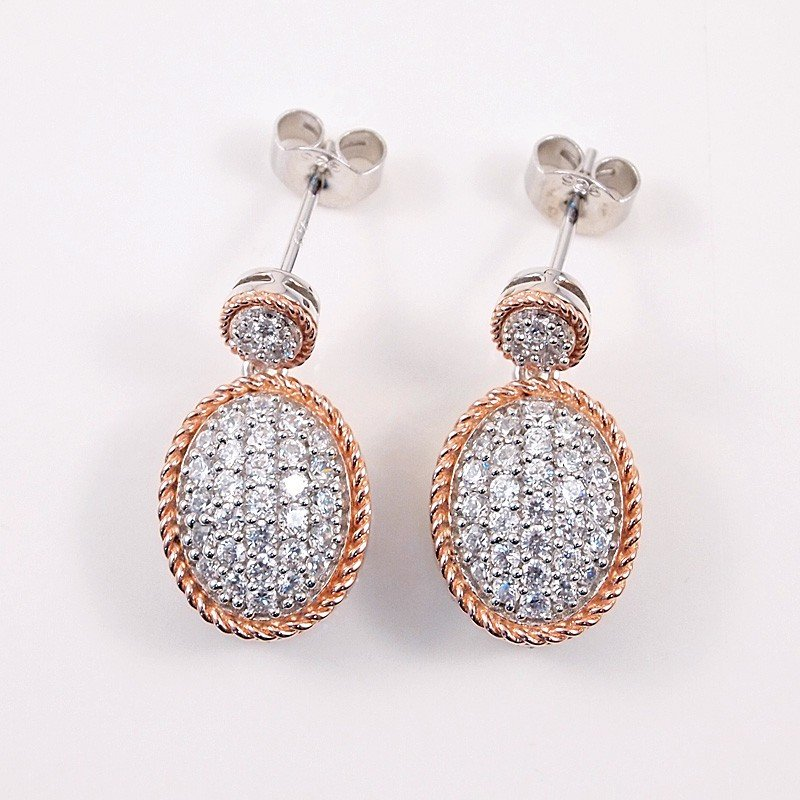 1E: Silver Earrings with Cubic Zirconium