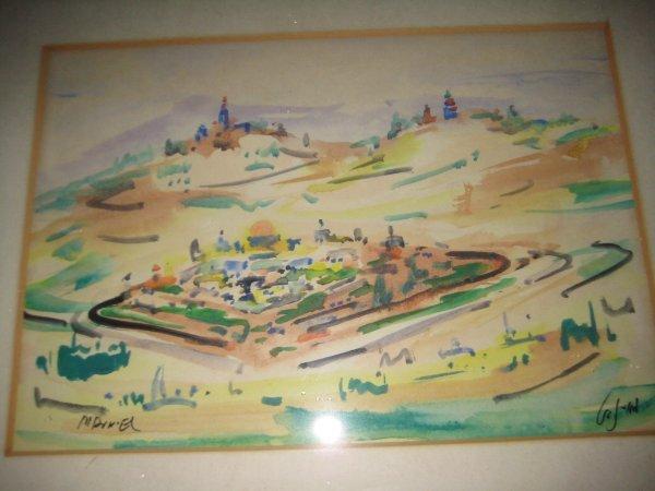 1: Mordechai Avniel W/C painting Jerusalem Israel