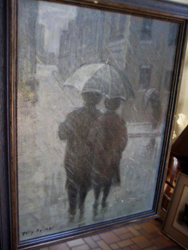 113: Tully Filmus oil painting signed Judaica Jewish