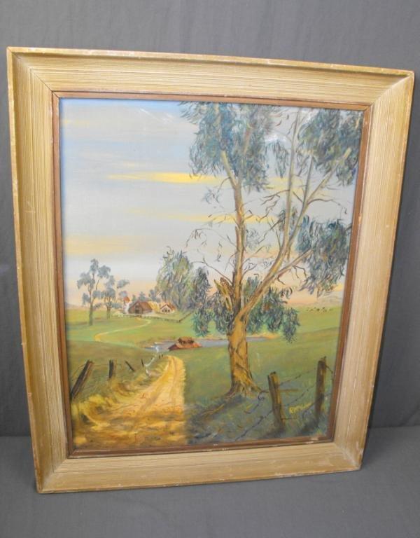 6: 1930's Oil Painting Farm Scene by McGinn