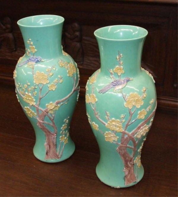 8: Pair of  Oriental Pate sur Pate Style Vases