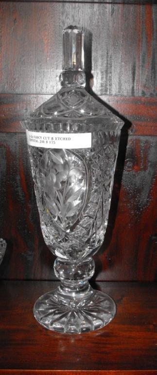 1J: Hand Cut Crystal Covered Jar