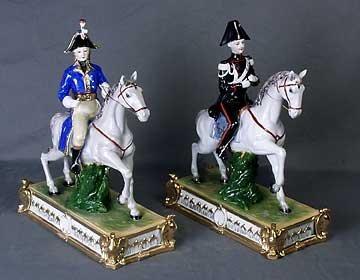3D: Soldiers on Horseback. Porcelain. Set of 2-