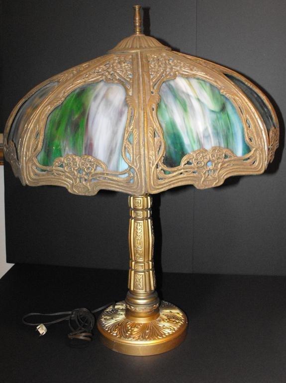 1: Signed Bradley & Hubbard Slag Glass Lamp-k1aaytr