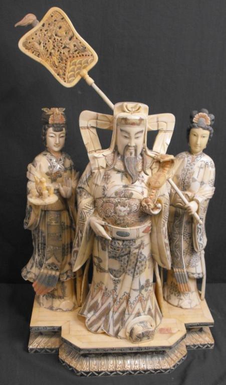 28T: Fine Paneled Ivory Emperor Group Figural