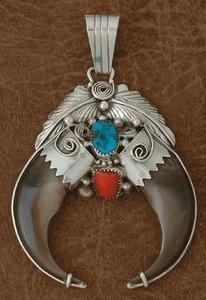 5B: Estate Double Bear Claw Pendant-Native American