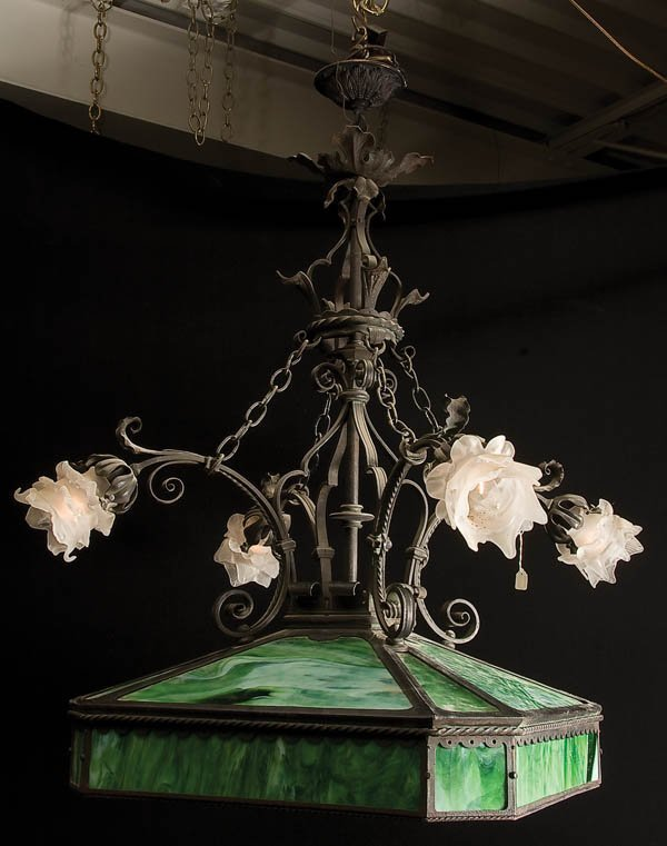 1: VICTORIAN STAINED GLASS CHANDELIER