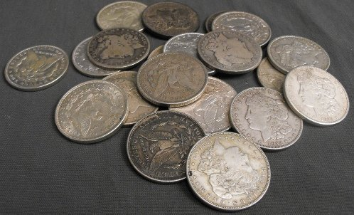 4J: Lot of 20 1878-1921 Mixed Date Silver Dollars