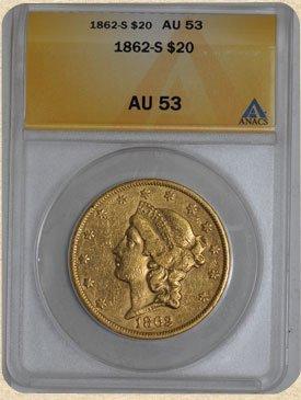 1N: 1862-S $20 Liberty AU53 ANACS