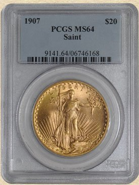 5N: 1907 $20 St. Gaudens MS64 PCGS