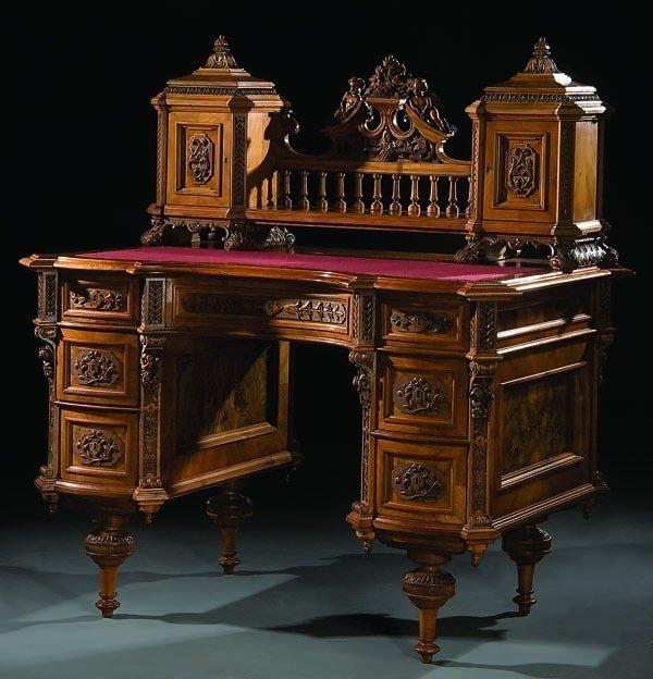 6A: Ornately Carved Austrian Desk