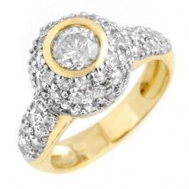 1H: Natural 2.20 ctw Diamond Ring 14K Yellow Gold