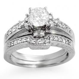 5H: Natural 1.30 ctw Diamond Solitaire Ring 14K White G