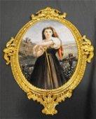 46T: Incised Mark KPM Porcelain Plaque in Dore Frame
