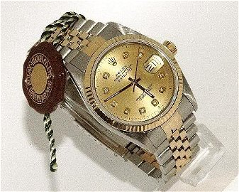 88V: ROLEX GOLD DIAMOND DIAL 18KT GOLD SS