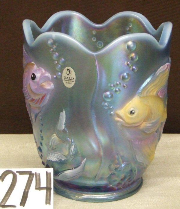 274: Fenton Blue Opal Atlantis Vase