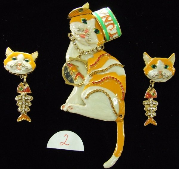 2: Lunch at the Ritz Enameled Cat Brooch Set