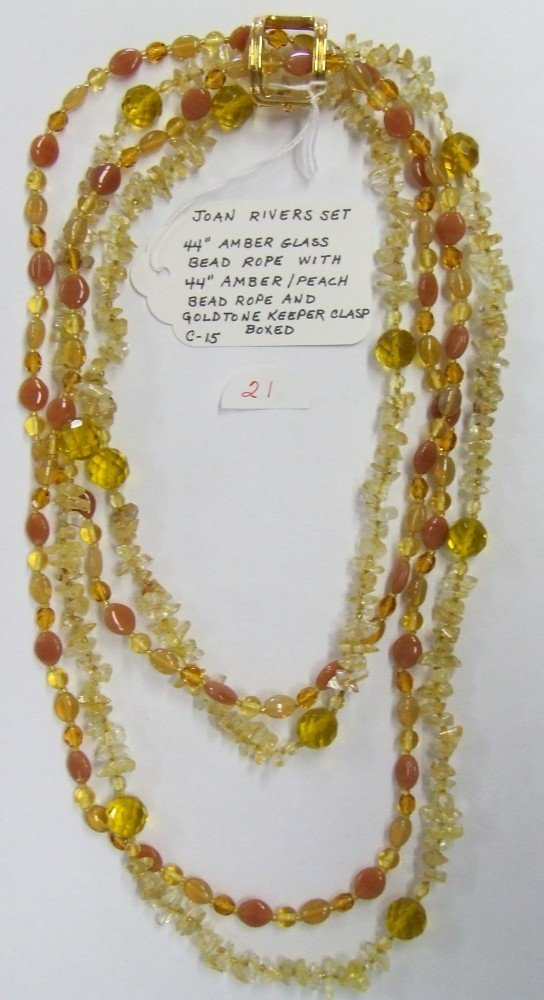 21: Joan Rivers Amber Glass Necklace Set