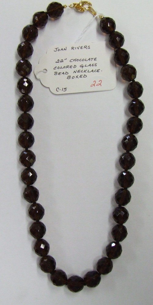22: Joan Rivers Chocolate Glass Necklace