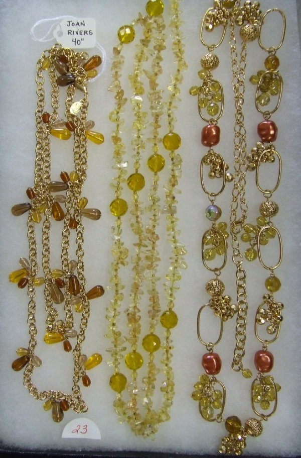 23: Amber and Gold Necklace Trio