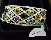 35: Sterling Silver Gemstone Cuff Bracelet