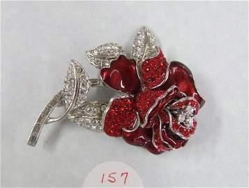 157: Nolan Miller Red Rose Enamel and Rhinestone Brooch