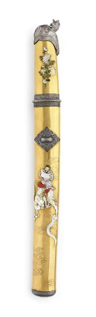 A gold-lacquered and Shibayama inlaid tanto koshira-e