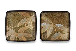 Two gold-lacquer large rounded square trays By Uono