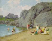 Edward Henry Potthast (1857-1927) The Bathing Hour 16 x