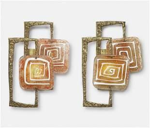 Angelo Brotto for Esperia, Pair of Wall Sconces, bronze
