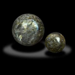 Two Labradorite Spheres
