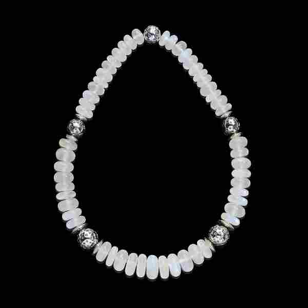 Exceptional Blue Moonstone Bead Necklace