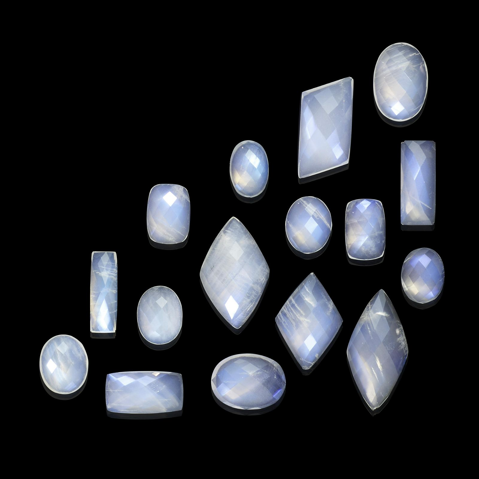 Group of Faceted Blue Moonstones