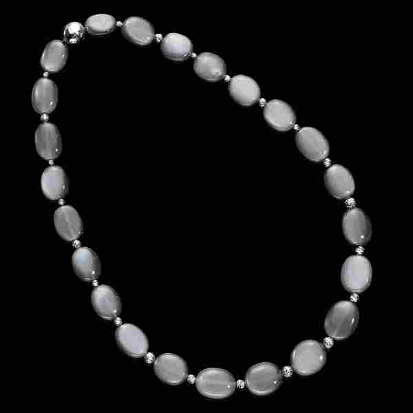 Anthracite-grey Moonstone Necklace