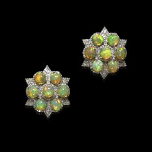 Crystal Opal and Diamond earrings