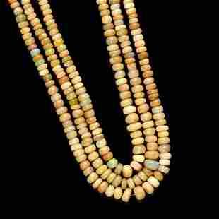 Three-strand Opal Bead Necklace