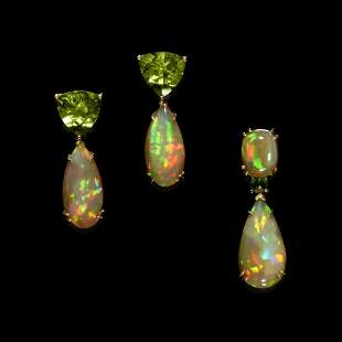 Peridot and Crystal Fire Opal Earrings and Pendant