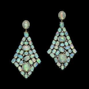Crystal Opal and Diamond Earpendants