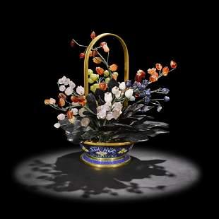 Multi-gemstone Flower Basket with Enameling