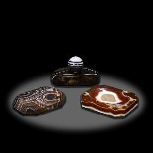 Two Banded Agate Paperweights and a Low Bowl