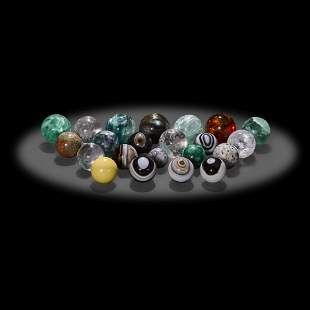 Twenty-two Small Mineral Spheres
