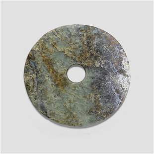 A Neolithic style jade bi disc