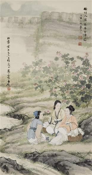 Deng Fen (1894-1964) Beauties Gathering Flowers, 1957
