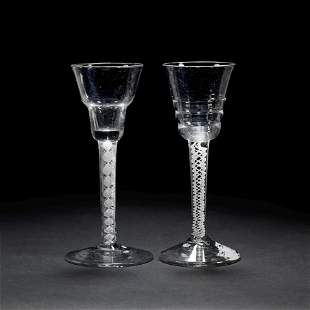 A mixed twist wine glass and a 'Lynn' opaque twist wine