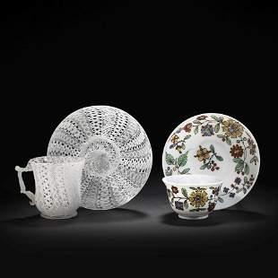 A collection of glass cups, teabowls and saucers, 18th