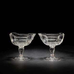 A pair of Silesian 'rock crystal' style sweetmeat