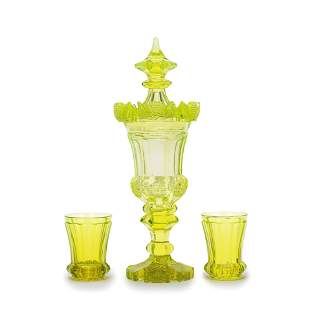 A Bohemian 'Annagrun' cut glass goblet and cover and a