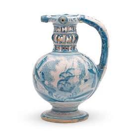 A very rare and unrecorded London delftware puzzle jug,